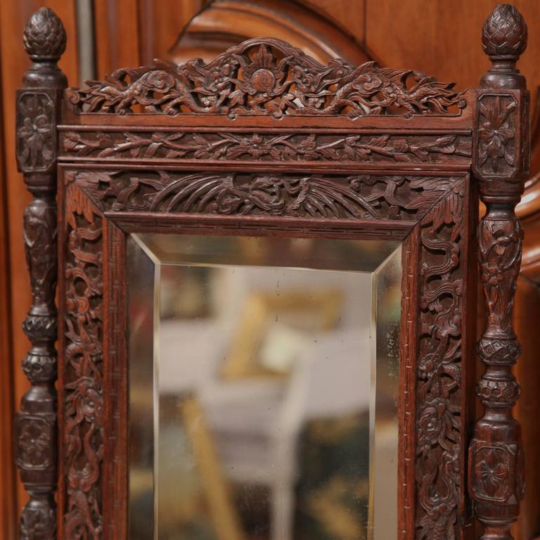 19th Century French Black Forest Carved Oak Freestanding Vanity Table Mirror In Excellent Condition For Sale In Dallas, TX