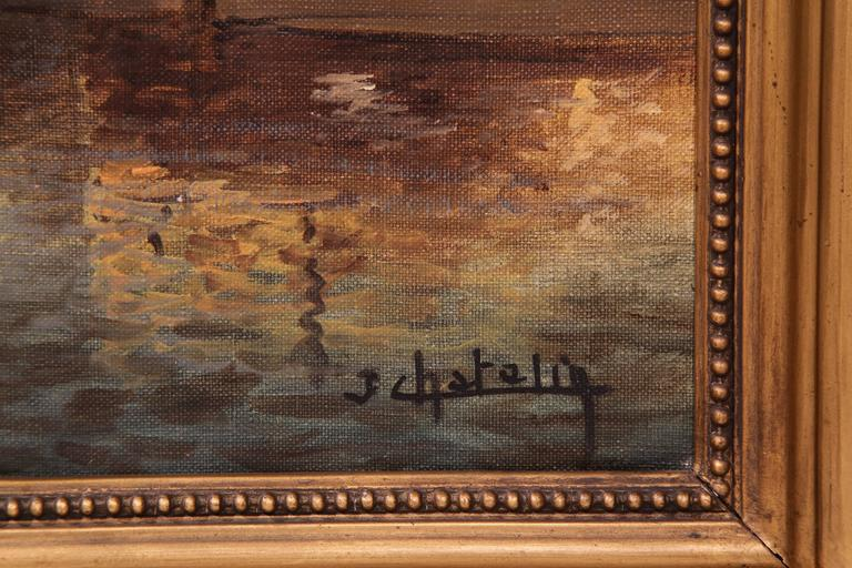 19th century french venice oil on canvas painting in gilt for What kind of paint to use on kitchen cabinets for art deco wall clocks for sale
