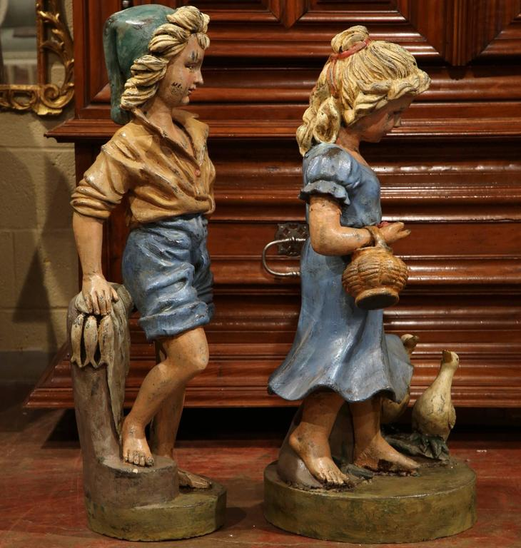 Pair of 20th Century French Hand Painted Boy and Girl Iron Sculptures For Sale 1