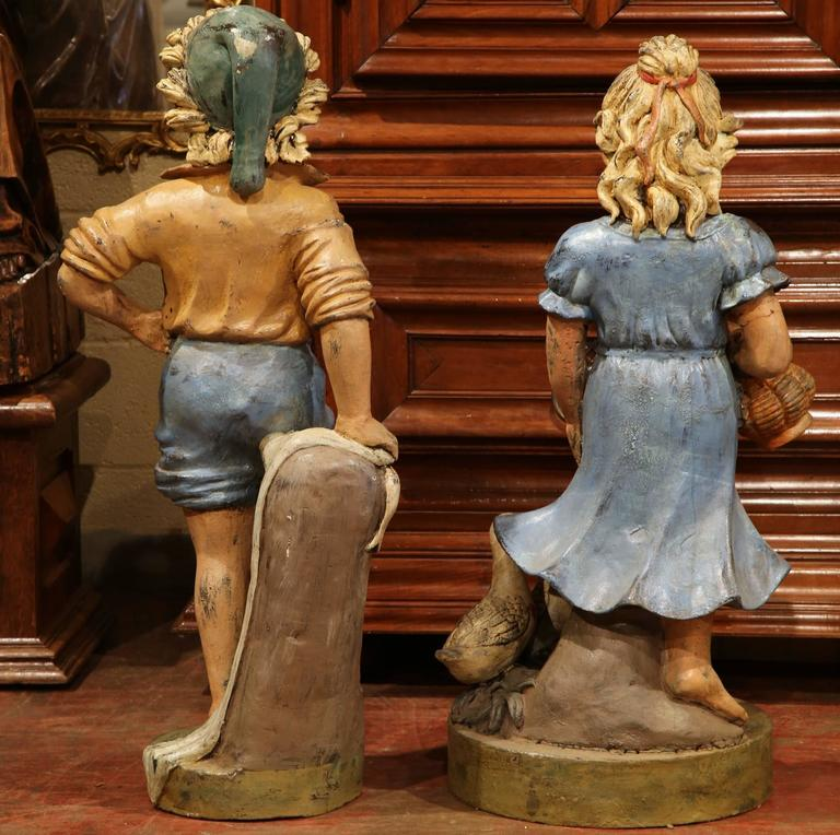 Pair of 20th Century French Hand Painted Boy and Girl Iron Sculptures For Sale 3