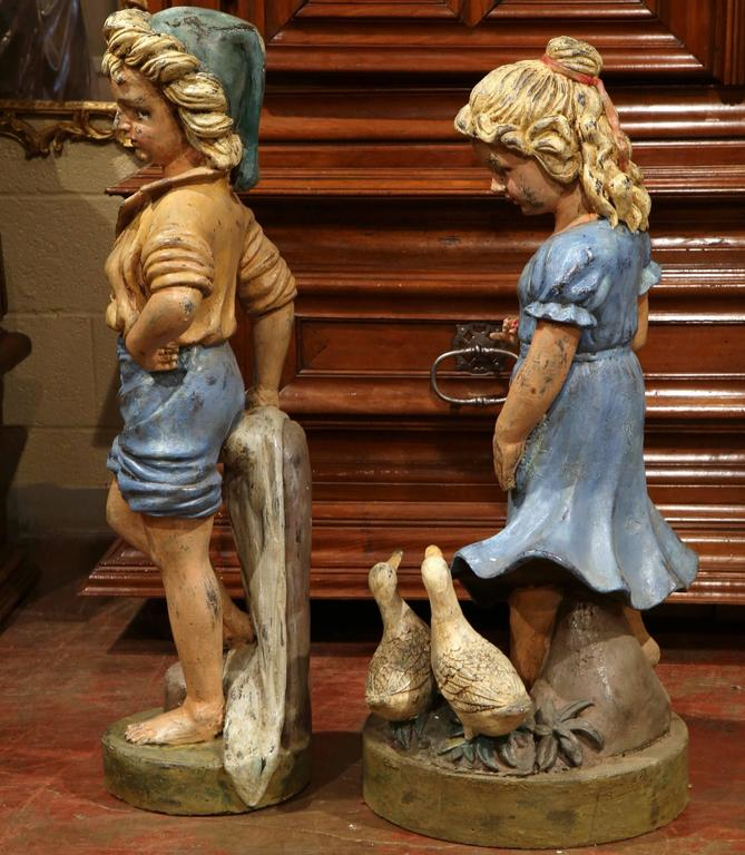 Pair of 20th Century French Hand Painted Boy and Girl Iron Sculptures For Sale 2
