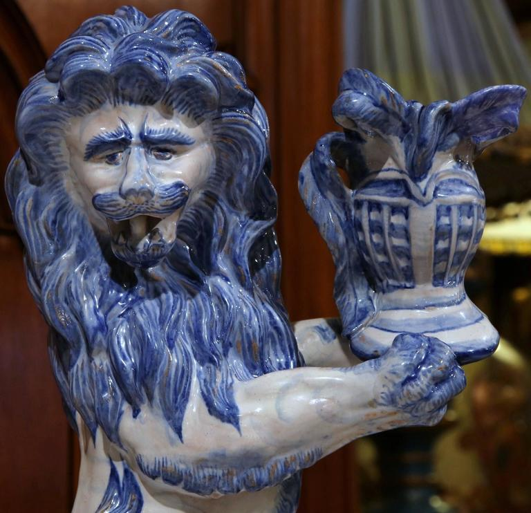 Gothic 19th Century French Blue and White Lion Candleholder Attributed to Emile Galle For Sale