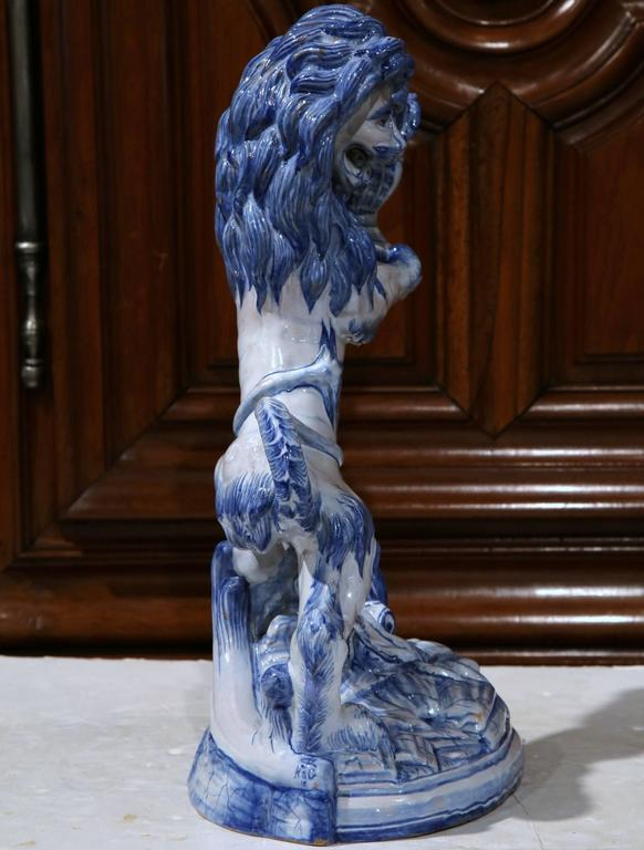19th Century French Blue and White Lion Candleholder Attributed to Emile Galle In Excellent Condition For Sale In Dallas, TX