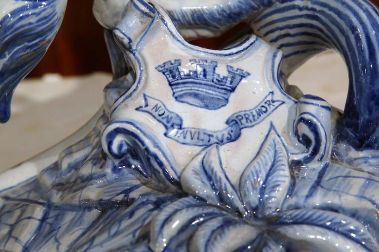 Hand-Crafted 19th Century French Blue and White Lion Candleholder Attributed to Emile Galle For Sale