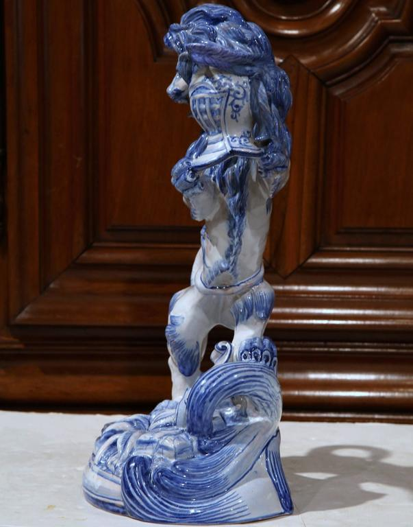 Faience 19th Century French Blue and White Lion Candleholder Attributed to Emile Galle For Sale
