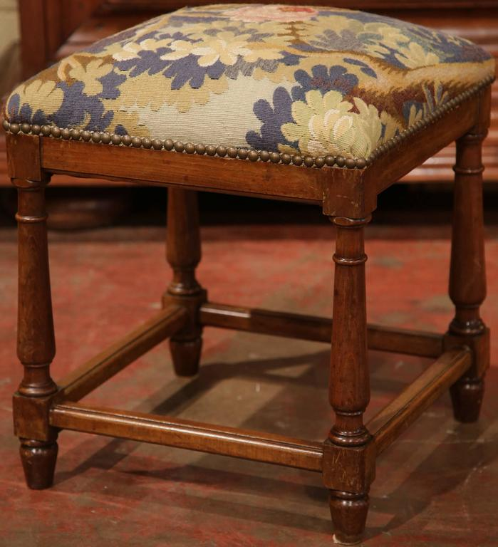 Pair Of Mid 19th Century French Square Walnut Stools With
