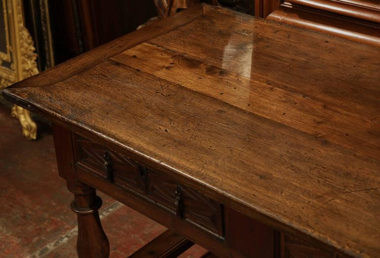 18th Century Spanish Carved Walnut Two Drawer Console