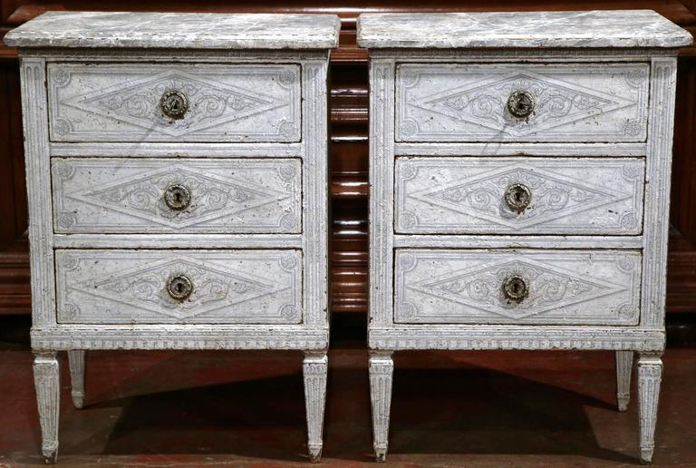 Pair Of 19th Century French Louis Xvi Painted Nightstands
