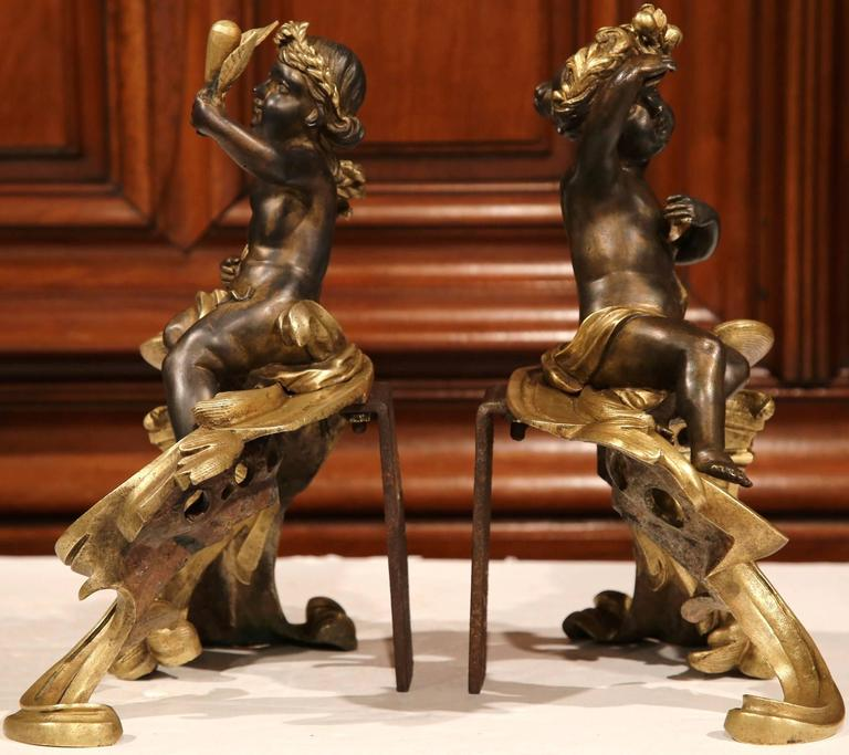 Pair of 19th Century French Patinated Bronze Andirons Chenets with Cherub Motif For Sale 3