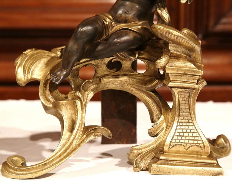 Pair of 19th Century French Patinated Bronze Andirons Chenets with Cherub Motif For Sale 2