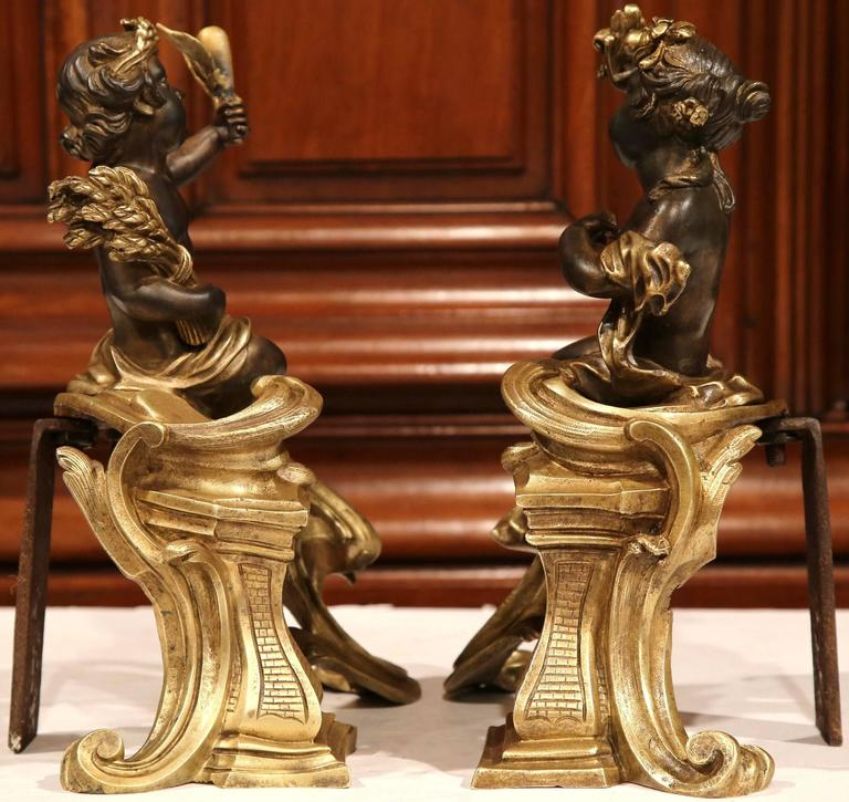 Pair of 19th Century French Patinated Bronze Andirons Chenets with Cherub Motif For Sale 4