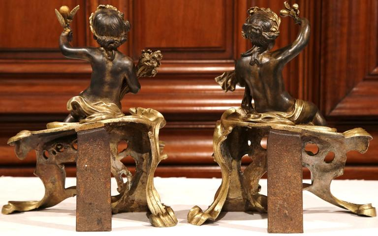 Pair of 19th Century French Patinated Bronze Andirons Chenets with Cherub Motif For Sale 5