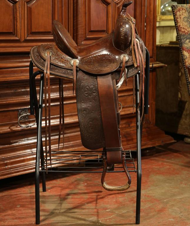 Vintage Tooled Leather Horse Saddle on Stand from Hamley & Co Pendleton Ore