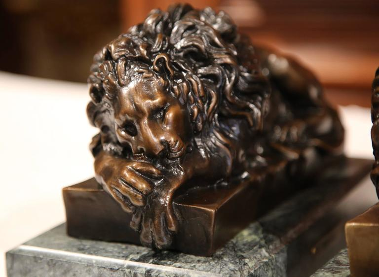 Pair of 19th Century French Bronze Lions Bookends on Marble Signed J. Moigniez For Sale 5