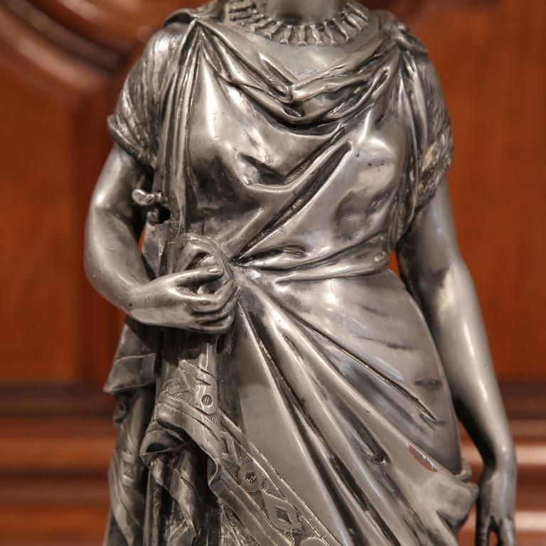 19th Century French Hand Carved Pewter Statue of a Roman Woman with Robe For Sale at 1stdibs