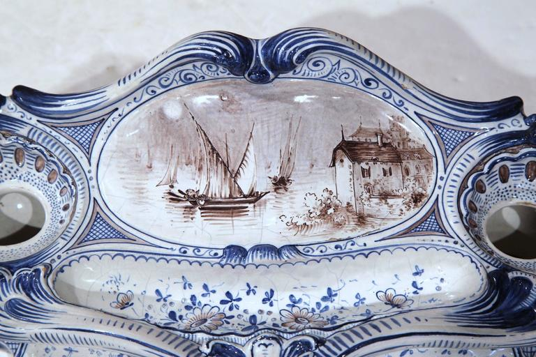 Louis XIV 19th Century French Louis XV Hand-Painted Blue and White Faience Inkwell For Sale