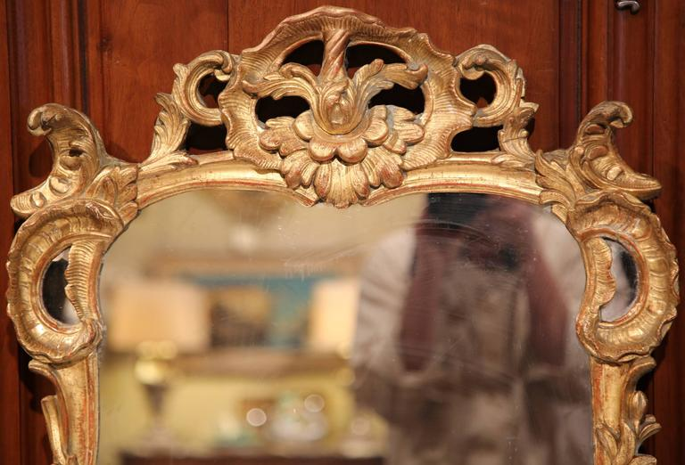 18th Century French Louis XV Carved Giltwood Mirror from Provence 2