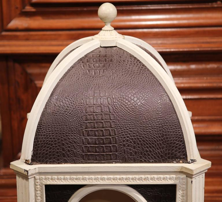Hand-Carved Carved Hand Painted and Leather French Dog House with Dome Top For Sale