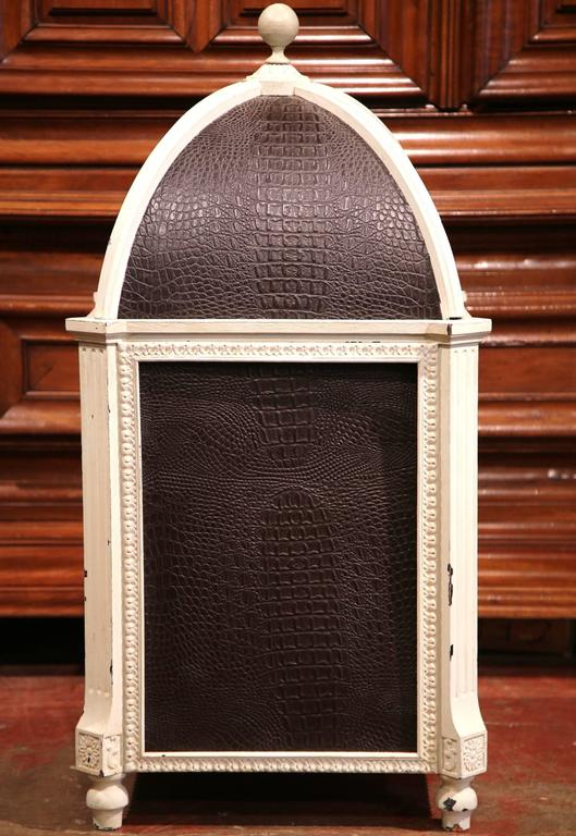 Carved Hand Painted and Leather French Dog House with Dome Top For Sale 1