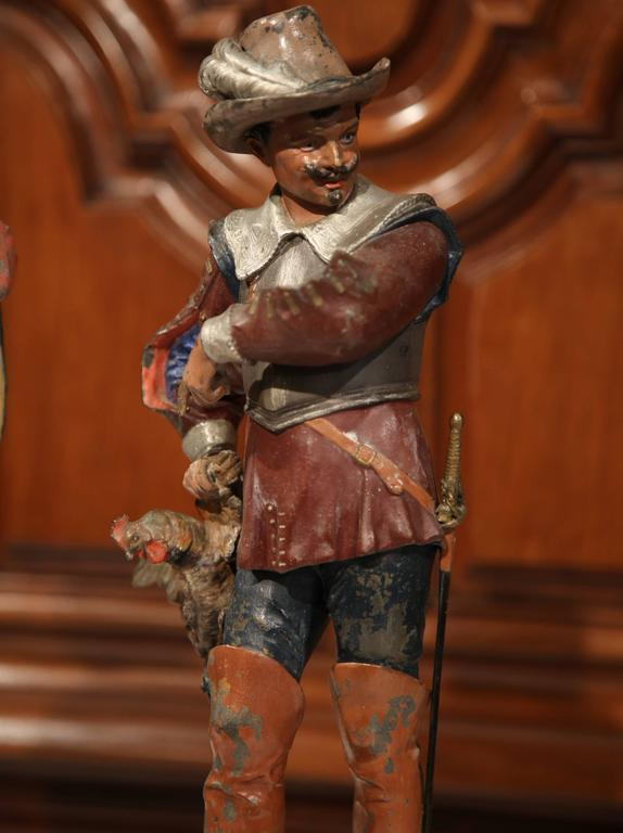 Pair of 19th Century French Spelter Hand Painted Musketeer Figures on Stand For Sale 3