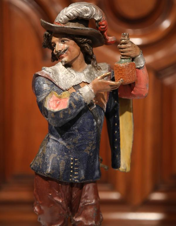 Pair of 19th Century French Spelter Hand Painted Musketeer Figures on Stand For Sale 2