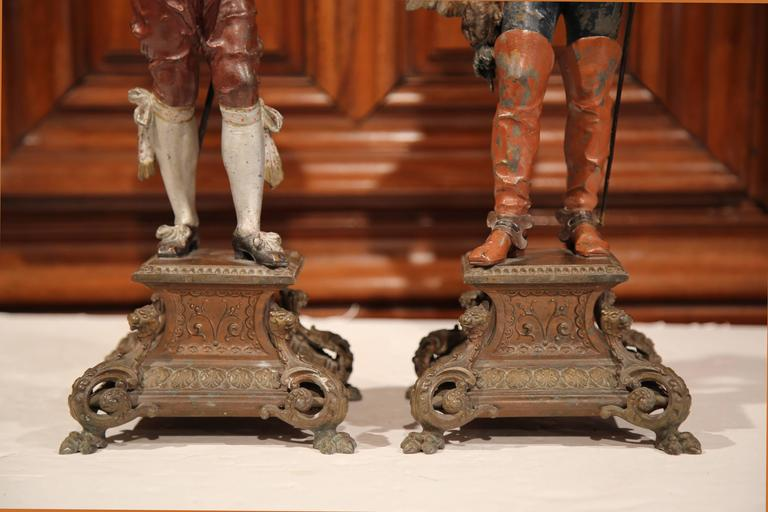 Renaissance Pair of 19th Century French Spelter Hand Painted Musketeer Figures on Stand For Sale