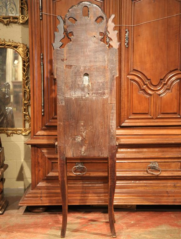 18th Century French Louis XV Carved Walnut and Pewter Fountain Lavabo on Stand For Sale 6