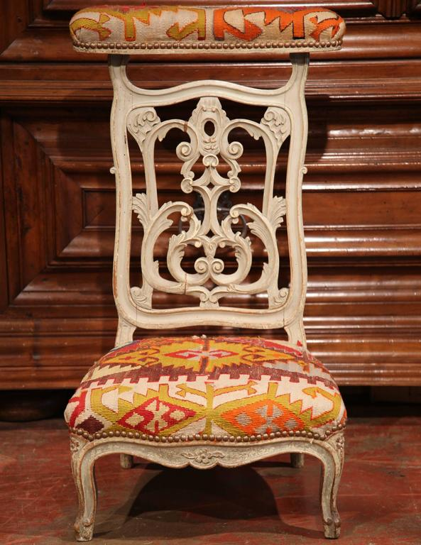 This fine, antique prayer chair, or Prie-Dieu, was carved in France - 19th Century French Carved And Painted Prie-Dieu Prayer Chair With