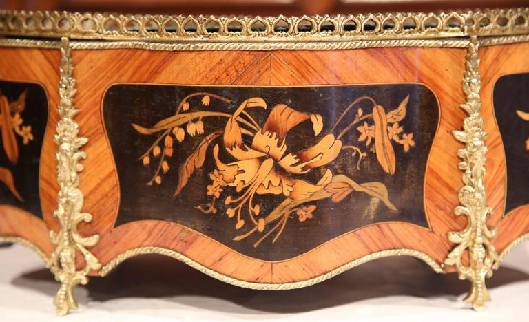 Louis XV 19th Century French Oval Rosewood Jardinière with Marquetry and Bronze Mounts For Sale