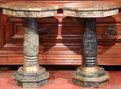 Pair of 19th Century Italian Carved Octagonal Green Marble Pedestal Tables