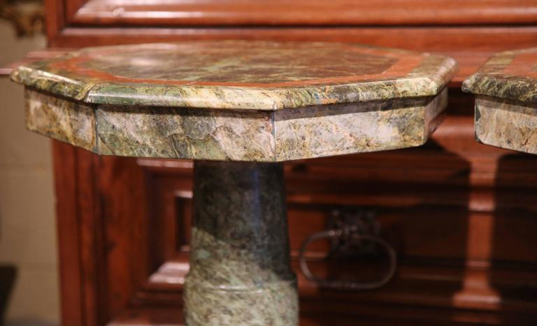 Brass Pair of 19th Century Italian Carved Octagonal Green Marble Pedestal Tables For Sale
