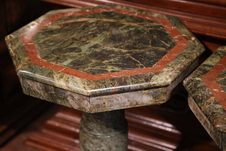 Pair of 19th Century Italian Carved Octagonal Green Marble Pedestal Tables For Sale 4