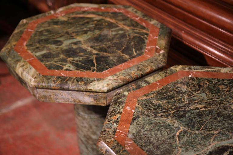 Pair of 19th Century Italian Carved Octagonal Green Marble Pedestal Tables For Sale 3