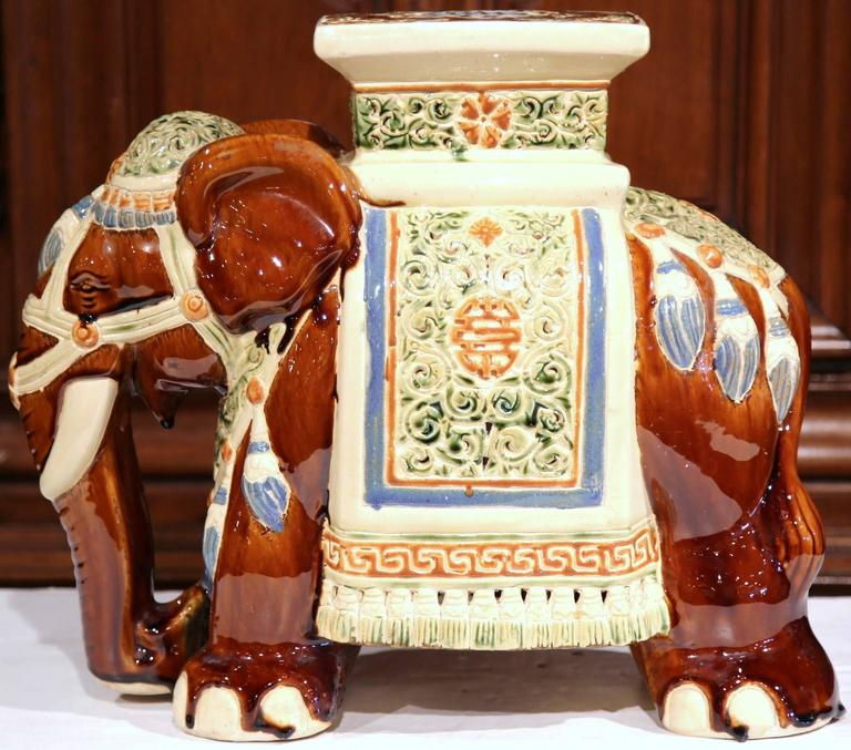 Mid 20th Century French Hand Painted Faience Elephant