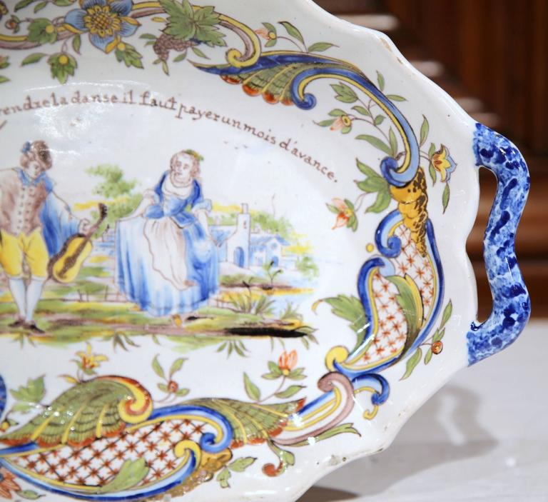 19th Century French Painted Oval Faience Wall Platter with Handles from Rouen For Sale 2