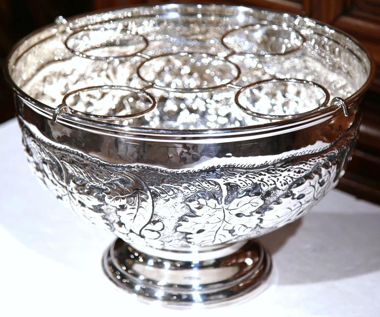 Large French Silver Plated Repousse Round Champagne or Wine Cooler For Sale 1