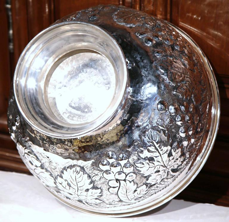 Large French Silver Plated Repousse Round Champagne or Wine Cooler For Sale 4