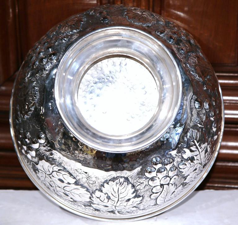 Large French Silver Plated Repousse Round Champagne or Wine Cooler For Sale 3