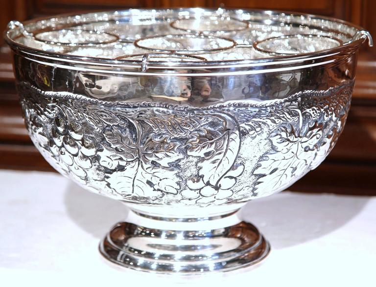 Repoussé Large French Silver Plated Repousse Round Champagne or Wine Cooler For Sale