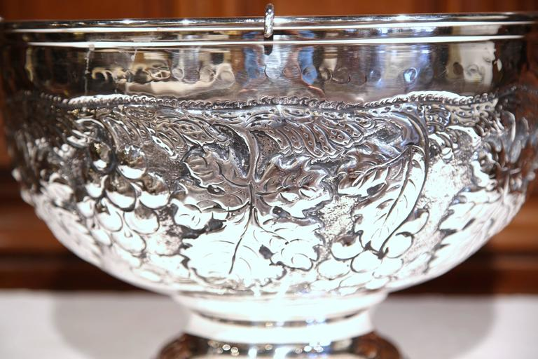 20th Century Large French Silver Plated Repousse Round Champagne or Wine Cooler For Sale