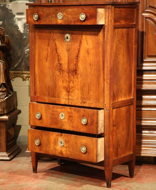 19th Century French Louis Xvi Walnut Secretary Desk With