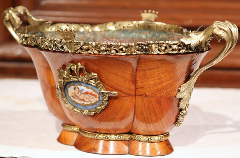 19th Century French Bombe Tulipwood and Bronze Jardinière with Porcelain Plaques For Sale 3
