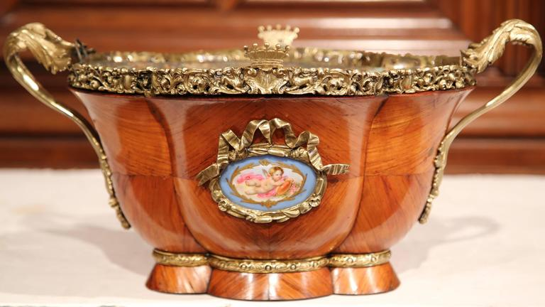 Louis XVI 19th Century French Bombe Tulipwood and Bronze Jardinière with Porcelain Plaques For Sale