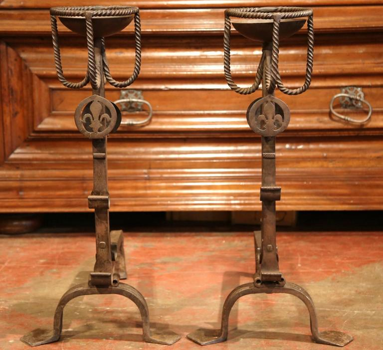 Forged Pair of Early 19th Century French Wrought Iron Andirons with Fleur-de-lys For Sale