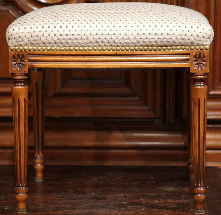 Early 20th century french louis xvi carved walnut stool for French furniture designers 20th century