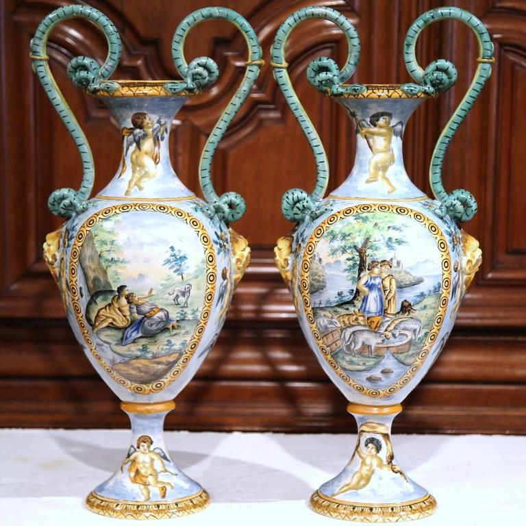 Pair Of 19th Century Italian Hand Classical Painted Vases With Roman
