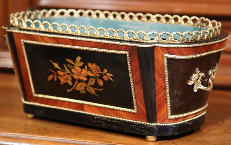 This elegant oval fruitwood planter was crafted in Paris, France, circa 1870. The antique, rosewood and ebony jardinière sits on four round feet; it features intricate marquetry and parquetry decor including colorful inlay floral and leaf motifs on