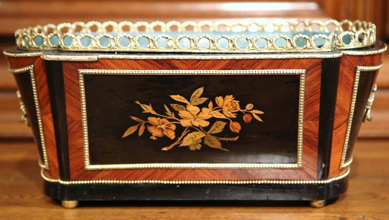 19th Century French Napoleon III Rosewood Marquetry Inlay and Bronze Jardinière For Sale 2