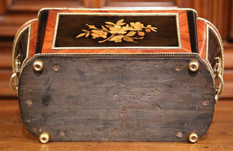 19th Century French Napoleon III Rosewood Marquetry Inlay and Bronze Jardinière For Sale 6