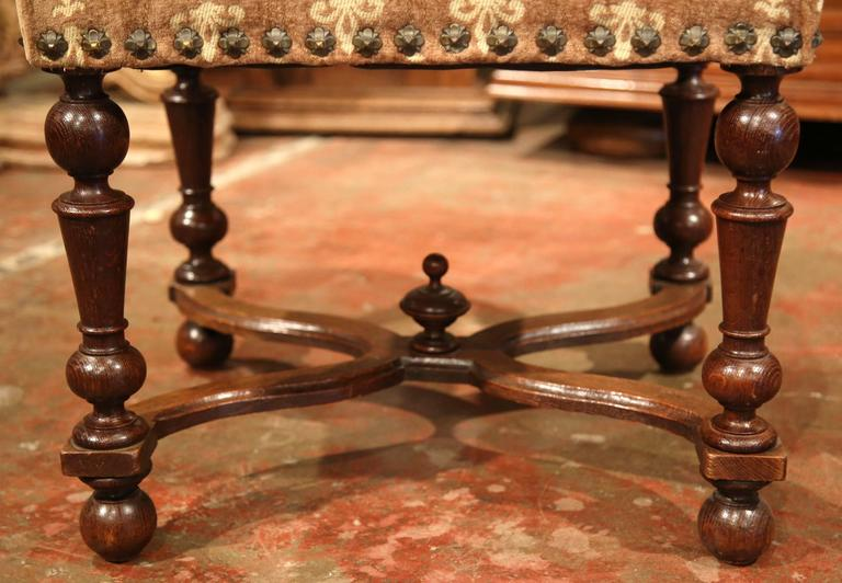 19th Century French Carved Walnut Stool With Fleur De Lys